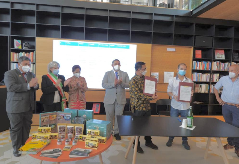 Opening One Day with Indonesian Coffe, Fruits and Flowers Resmi Dibuka di Italia. (Dok. Sariagri)